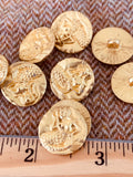 18mm gold colored mermaid metal shank button, set of 10