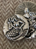 18mm silver colored mermaid metal shank button, set of 10