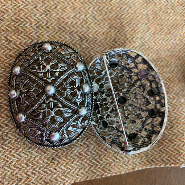 Norse style Viking tortoise turtle brooches, style 12, silver color
