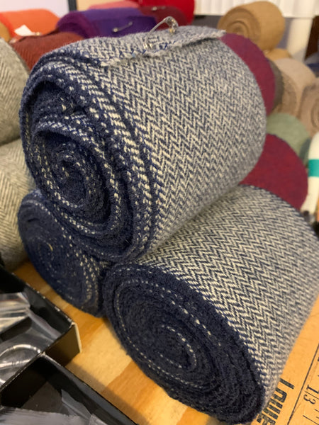Winingas Viking - Norse - Anglo-Saxon Leg Wraps navy blue and natural white wool herringbone
