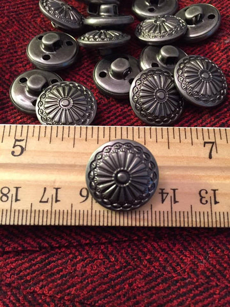17 mm antique silver colored metal shank button, sunburst flowers, set of 10