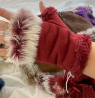 Faux suede, genuine rabbit fur mitten mitts fingerless gloves