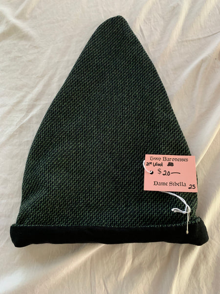 Norse Viking reversible hat black and green wool and white linen, XL