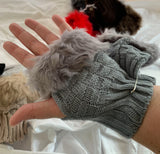 Knitted faux fur mitten mitts fingerless gloves