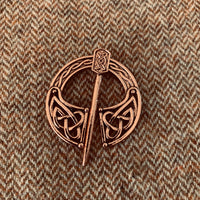 Pennanular celtic style cloak pin brooch closure, copper color, style 22
