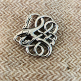 Celtic style animal beast pin brooch closure, silver pewter color