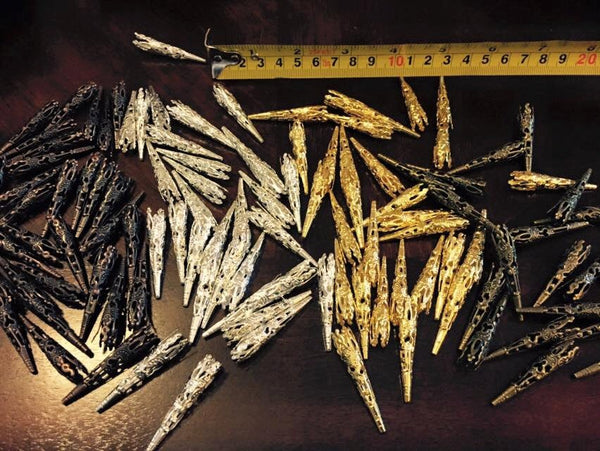 20 pairs of lacing points - aglets - aiglets - aiglettes for renaissance - victorian - steampunk clothing: gold, silver, bronze