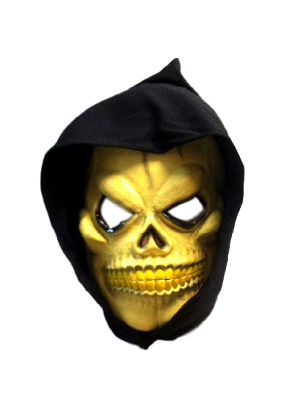 Halloween Hooded Yellow Dangerous Skull Attached String Cosplay Latex Mask