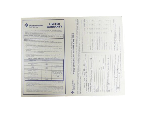 Pentair Water Pool and Spa Product Warranty Registration Card English