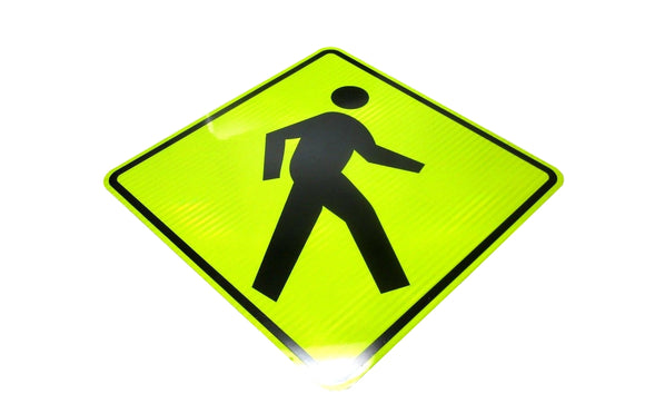 Pedestrian 36x36 Fluorescent Yellow Diamond Grade Reflective Sign