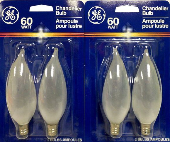 GE 60CA10/F/PM/2 60W Light Bulb Candelabra Base Bent Tip Incandescent Lot 4 Pcs