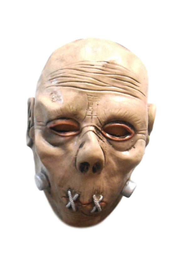 Halloween Beige Colored Creepy Monster Latex Mask Sewn Lips Serial Killer 50194