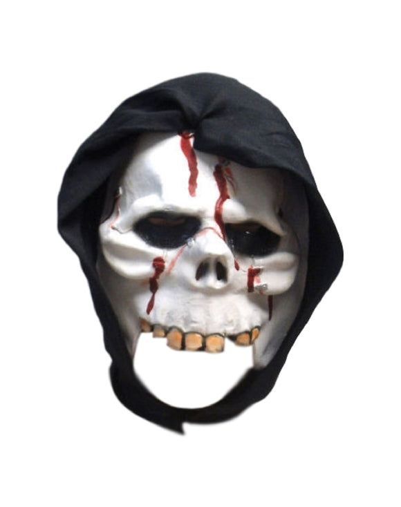 Halloween Bleeding Stapled Skull Chinless 3/4 Face Theater Cosplay Latex Mask