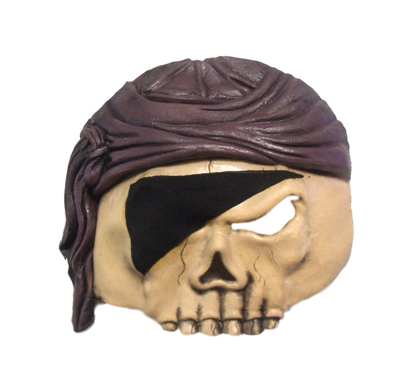 Halloween Pirate Thief Eye Patch Skull No Hair Theater Cosplay Latex Mask