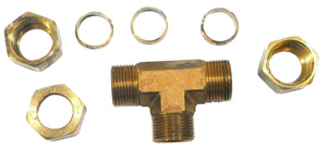 "Big A Service Line 3-164900 Brass Pipe, Tee Fitting Kit 5/8"" x 5/8"" x 5/8"""