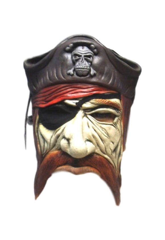 Halloween Angry Chinless Caribbean  Pirate Eyepatch Cosplay Latex Mask