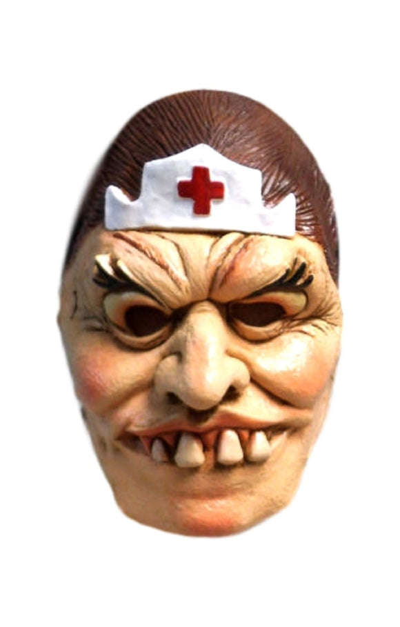 Halloween Evil Scary Nurse Crooked Teeth Theater Cosplay Latex Mask