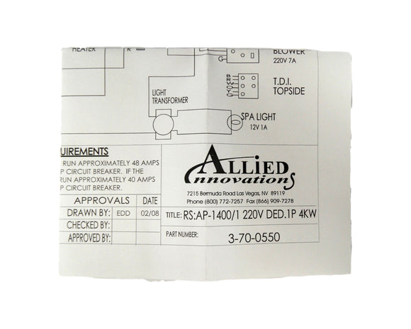 Allied Innovations 3-70-0550 Wiring Diagram AP-1400 - RS:1400/1 220V DED/1P 4KW