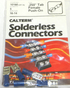 "Calterm 10180 (CP-18) .250"" Tab, Female Push-On Solderless Connector 5 Pcs"