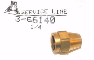 Big A Service Line 3-66140 Brass Long Nut 1/4""