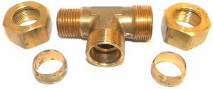 "Big A Service Line 3-171928 Brass Pipe, Tee Fitting Kit 3/4"" x 1/2"""