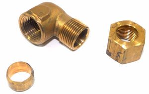 "Big A Service Line 3-170860 Brass Pipe, 90 deg Street Elbow Fitting 1/2"" x 3/8"""