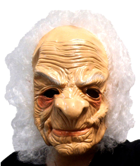Halloween Hairy Old Person Wrinkled Mad Scientist  Latex Mask 1411