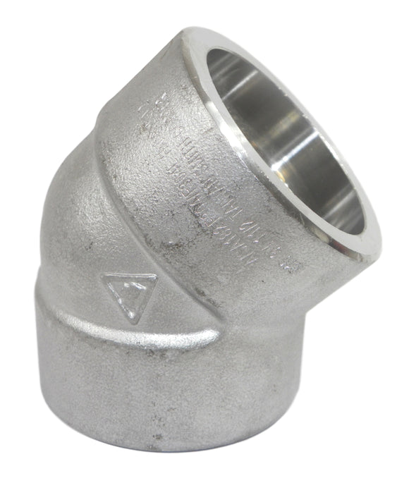 SCI IS4L3S4J 1-1/2 in. Socket 3000# 304L Stainless Steel 45 Degree Elbow