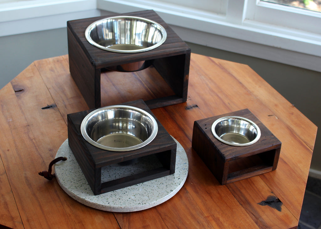 Raised pet feeders, made from old pine walls of a friend's 1st home reno