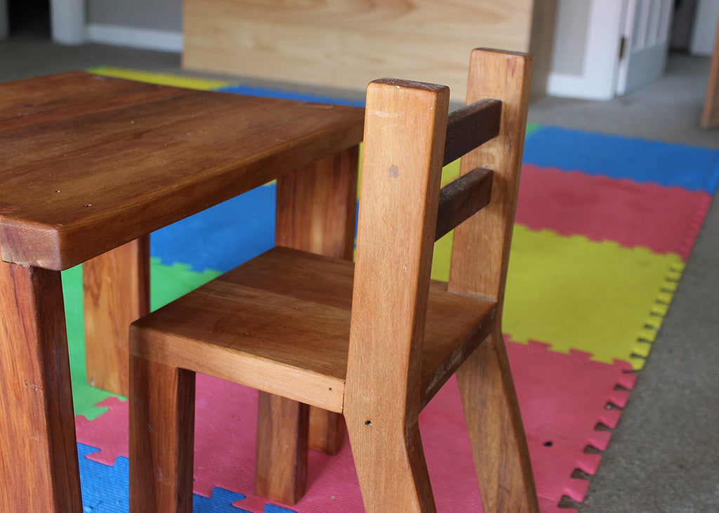 Toddler furniture, made from wood reclaimed from Farm School Cove lockers