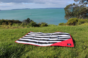 Monochrome and Red Beach Mat