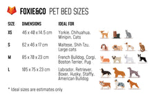 Load image into Gallery viewer, FOXIE&CO Pet Bed Sizes