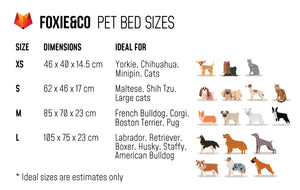 FOXIE&CO Pet Bed Sizes
