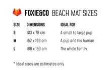 Load image into Gallery viewer, FOXIE&CO Beach Mat Sizes