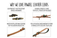 Load image into Gallery viewer, Handcrafted Leather Lead in Loden