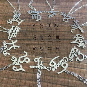 Steel Zodiac Pendant Necklace; Vintage Font