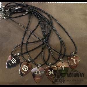 Steel Astrology Guitar Pick Pendant