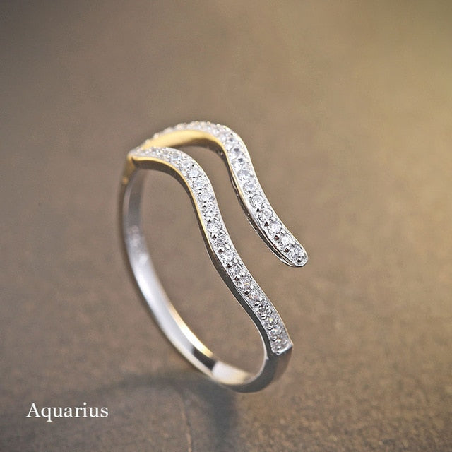 Silver Crystal Zodiac Ring