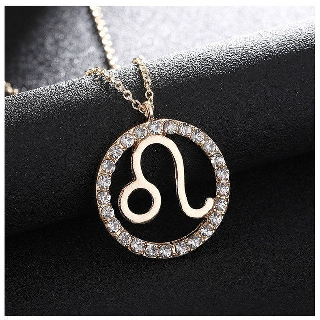 Stylish Diamond Circle Zodiac Necklace