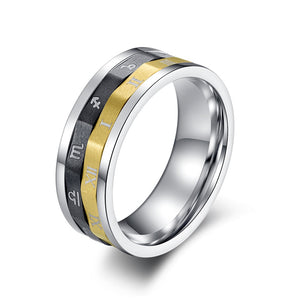 Titanium Black & Gold Zodiac Spinner Ring