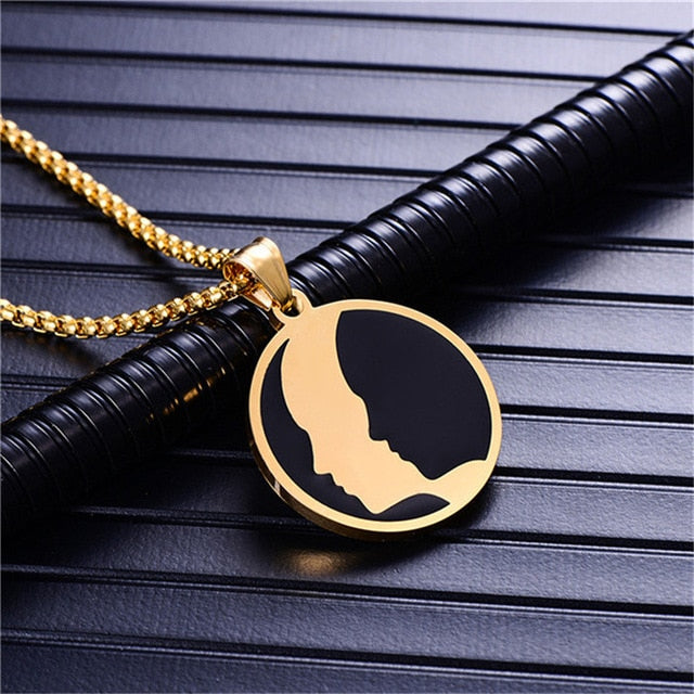 Steel Black & Gold Circle Zodiac Necklace