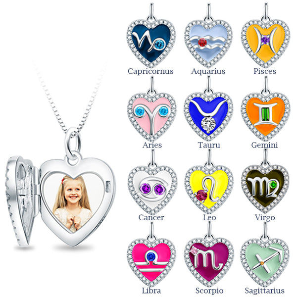 Silver Zodiac Heart-Locket, Personalized For Your Love
