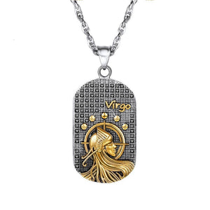 Steel Black & Gold Zodiac Dog Tag