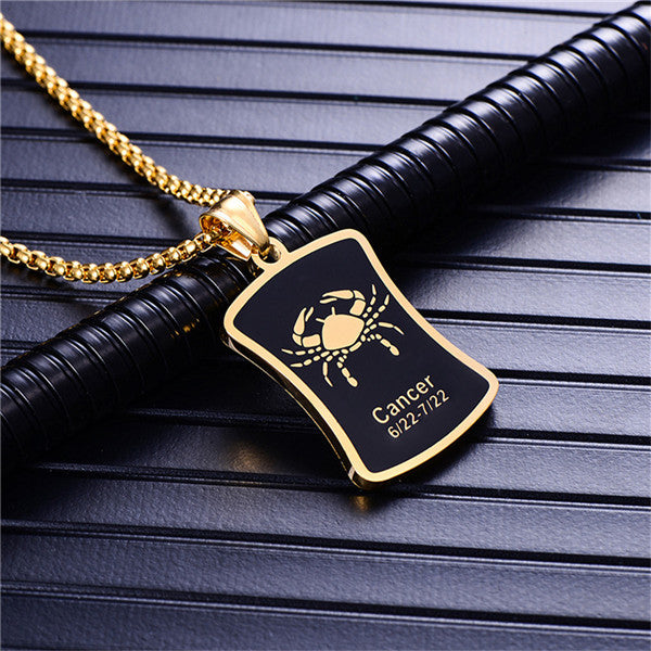 Steel Black & Gold Zodiac Necklace