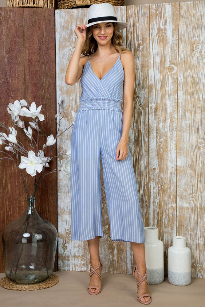 Load image into Gallery viewer, Front Wrap With Waist Smocking Jumpsuit