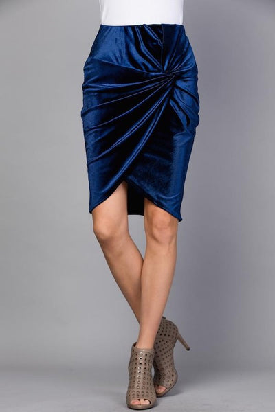 Twist Knot Velvet Skirt - Royal Blue