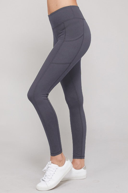 Yoga Waist Leggings With Side Pocket - Charcoal