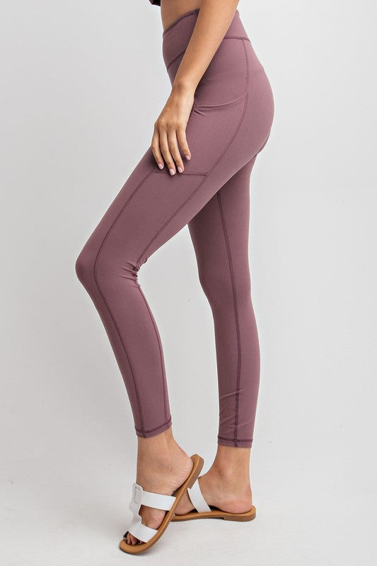 Yoga Waist Leggings With Side Pocket - Dark Mauve (PRE-ORDER)