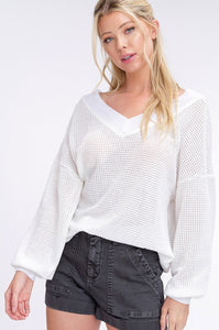 Waffle Knit Textured v-neck Top