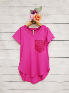 Girls Sequin Pocket Top
